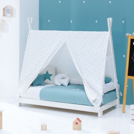 Cama cabaña Montessori Indy Gris Carezza Mint Alondra 70x140 cm