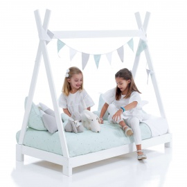 Camita cabaña Montessori Indy Gris Carezza Mint Alondra 70x140 cm